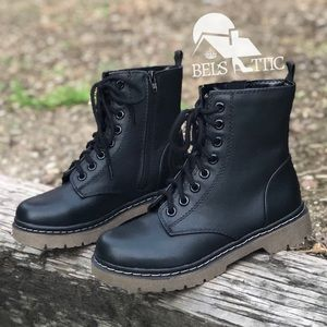 Shoes - Black Grunge Lace Up Combat Boots
